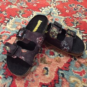 New Loudmouth Sugar Skull Frankie Sandals Sz 5